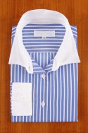 WHITE COLLAR ON BLUE AND WHITE STRIPES