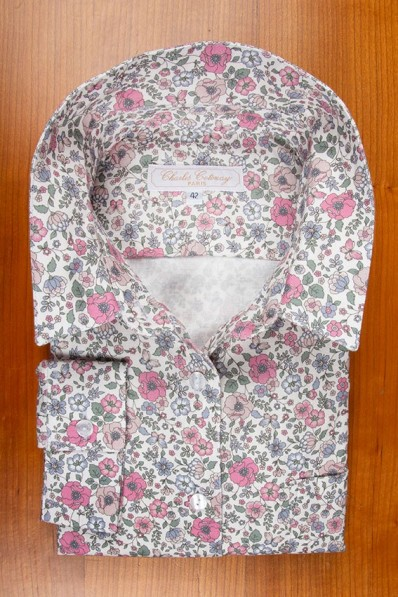THIN COTTON FLANELL, PINK AND GREEN FLOWERS 105,00 €