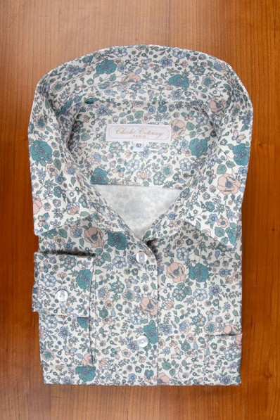 THIN COTTON FLANELL, BLUE AND GREEN FLOWERS 105,00 €