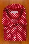 COTTON SATIN, WHITE DOTS ON RED
