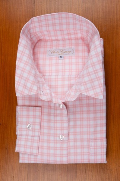 THIN COTTON FLANELL , WHITE AND PINK CHECKS 125,00 €