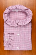 THIN COTTON FLANNEL, SMALL PINK CHECK COLLAR