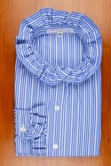 RUFFLED COLLAR AND CUFFS, FLAG BLUE AND WHITE STRIPES