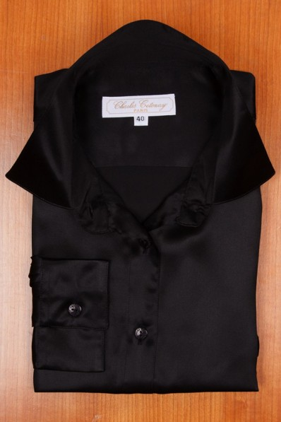 SATIN OF SILK, BLACK COLOR 155,00 €