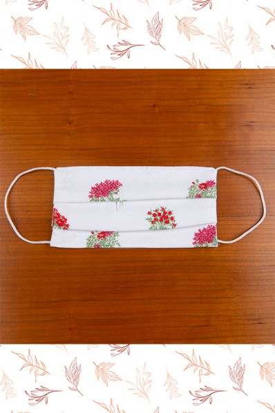 WOMAN FACE MASK RED AND GREEN FLOWERS 10,00 €