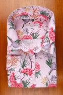LINEN AND COTTON, FLOWERS AND PARAKETTS ON PINK