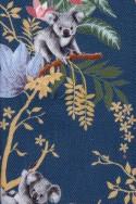 THIN COTTON FLANELL, KOALAS ON BLUE JEAN