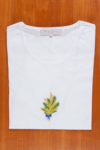 TEE SHIRT, EMBROIDERY: YELLOW MIMOSAS 85,00 €