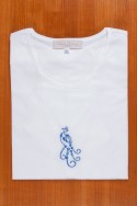 TEE SHIRT, EMBROIDERY: BLUE PEACOK.