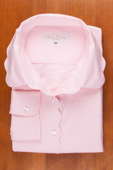 THIN COTTON FLANELL, SCALLOP COLLAR, PINK VICHY 135,00 €