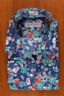 PRINTED FLORAL COTTON SATIN ON BLUE JEAN